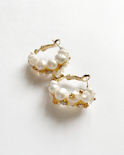 pearls & diamond hoop earrings