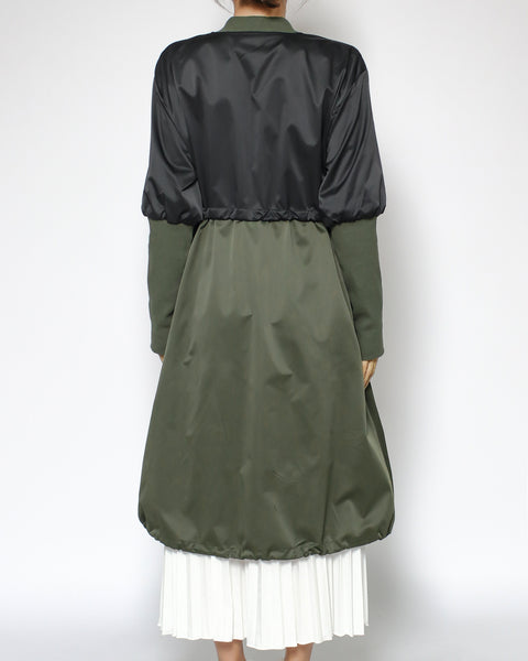 black & green ivory pleats hem dress