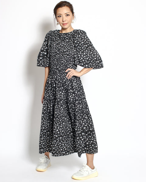black floral ruched front chiffon longline dress *pre-order*