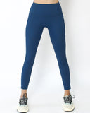 blue seams sports ankle length leggings with pockets *pre-order*