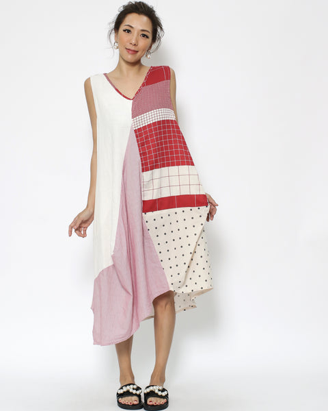 ivory beige red checkers polka dots cotton linen dress