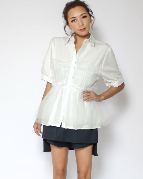 ivory mesh layer shirt