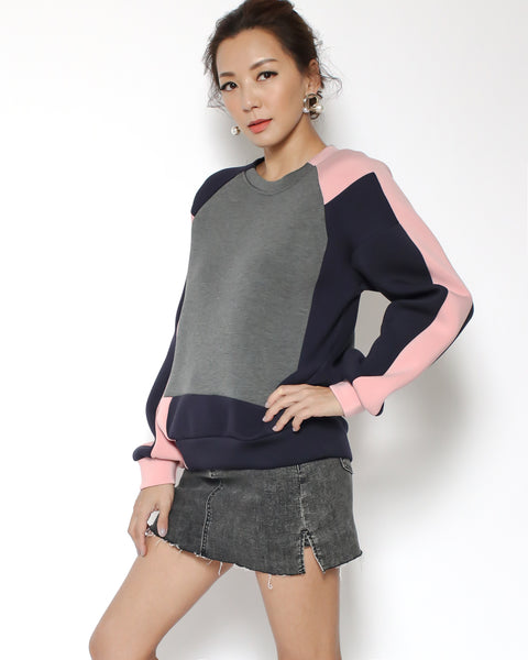 navy & pink grey neoprene top
