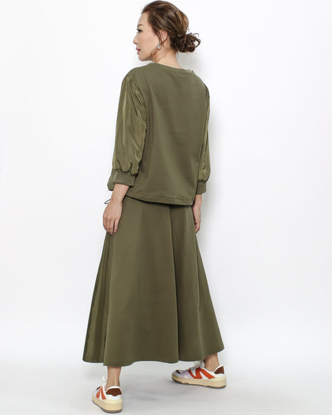 olive green sweatshirt  & tech skirt set *pre-order*