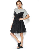 grey tee with mesh layers contrast dress