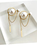 gold metal with drops double pearls earrings