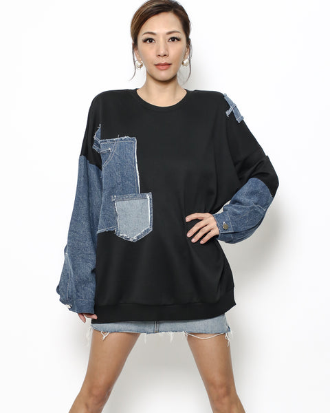 black & denim sleeves sweatshirt