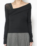 black mesh shoulder top *pre-order*