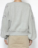 grey sweatshirt with crochet sleeves *pre-order*