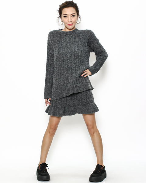 grey knitted top & ruffles skirt set