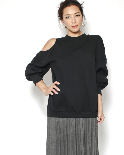 black cutout shoulder sweatshirt