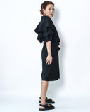 black crepe ruffles sleeves midi dress with belt *pre-order*