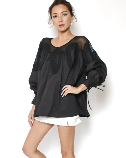 black mesh shoulders lace shirt top