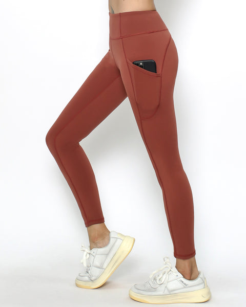 maroon seams sports ankle leggings with pockets *pre-order*