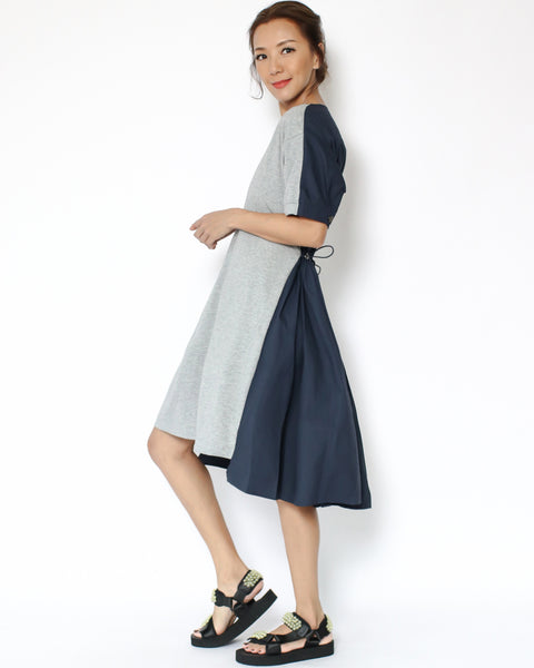grey tee with navy shirt back contrast dress *pre-order*