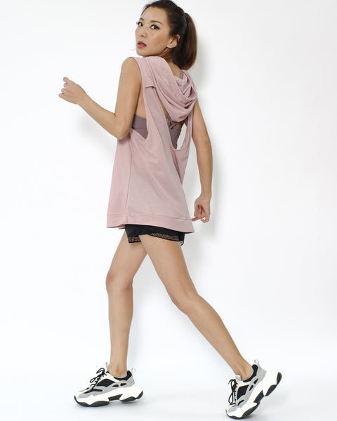 pink cutout back sporty hoodie vest *pre-order*