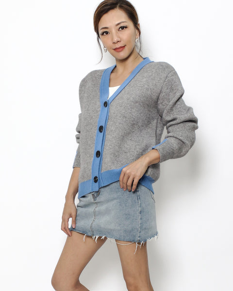 grey & blue trim knitted cardigan *pre-order*