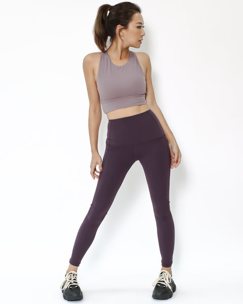 purple seams sports ankle length leggings with pockets *pre-order*