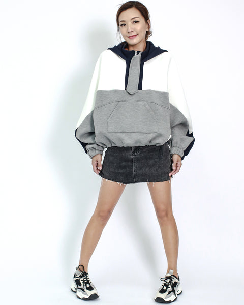 grey with ivory & navy contrast neoprene hoodie top