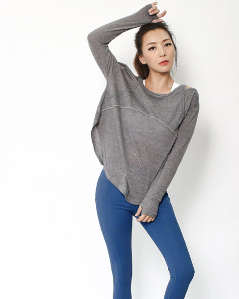 marble grey cutout back sports top *pre-order*