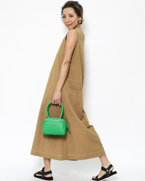 camel cotton longline dress