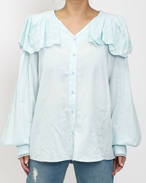 light blue crochet collar shirt