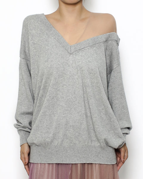 grey mesh shoulder knitted top *pre-order*