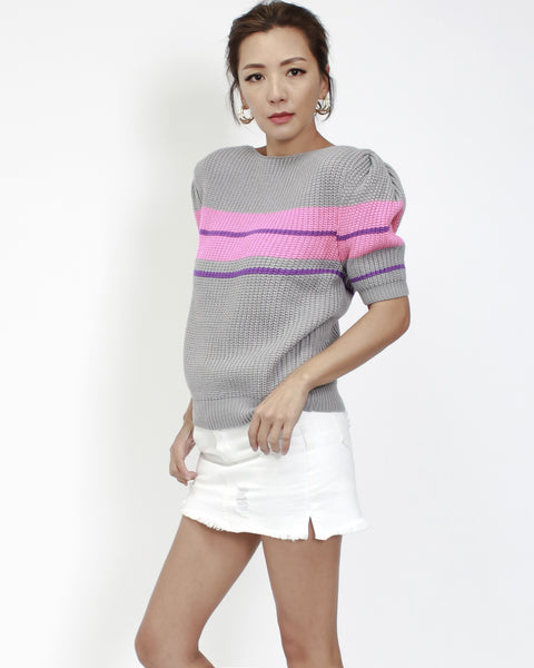 grey with pink stripe panel short sleeves knitted top *pre-order*