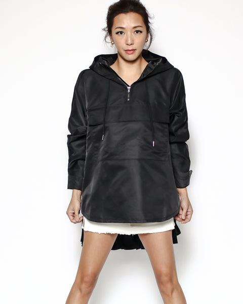black hoodie pleats top