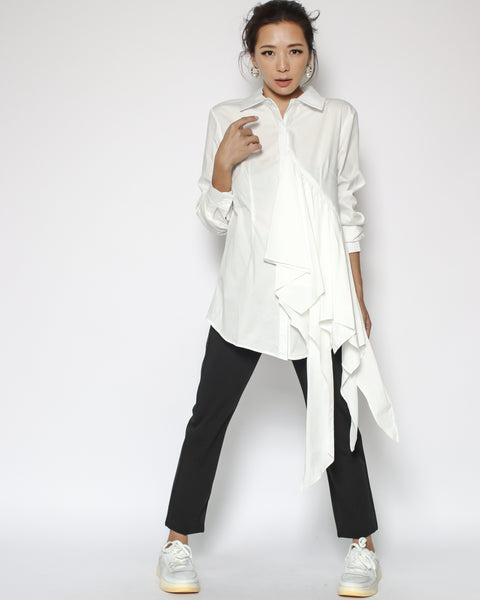 ivory pleats drape shirt
