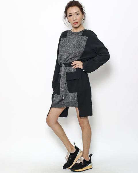 black shirt & grey luxe knitted dress