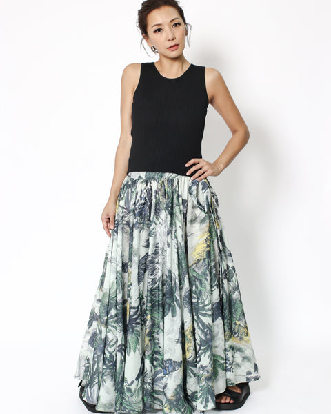 tropical printed maxi skirt with tie-up waist *pre-order*
