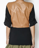 black chiffon with PU leather contrast top