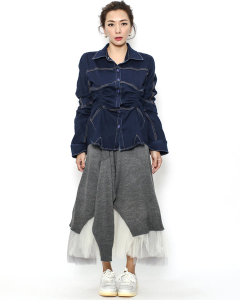 indigo denim ruched shirt