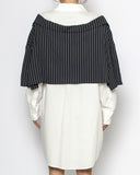 ivory shirt & black stripes layer