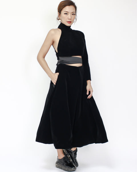black velvet one sleeve with wrapped waist midi dress *pre-order*