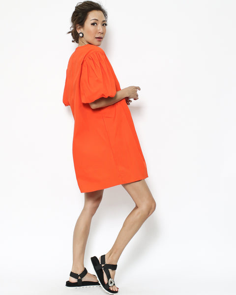 bright orange linen pleats dress *pre-order*