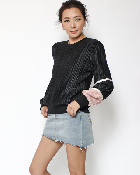black ottoman & pink sleeve top