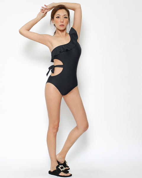 black cutout waist ruffles one shoulder one piece swimsuit *pre-order*