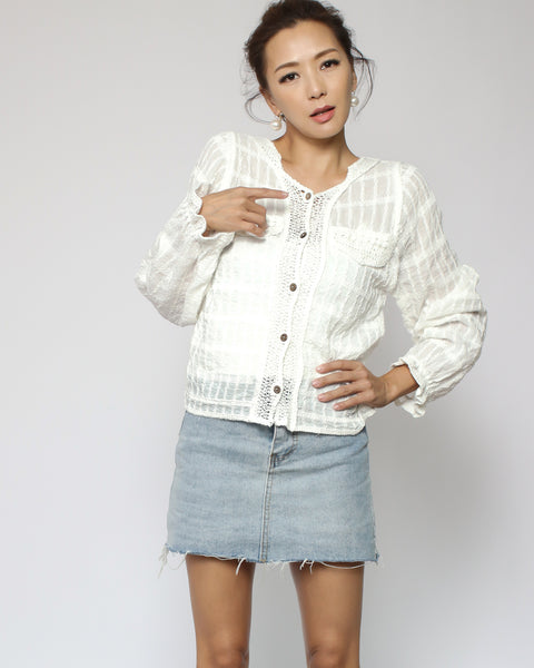 ivory crochet hem checkers cardigan