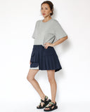 grey tee with navy pleats contrast dress *pre-order*