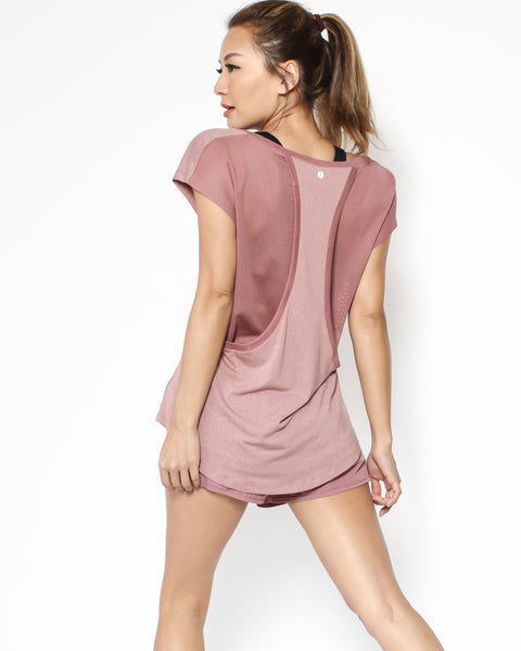 pink mesh back sporty tee *pre-order*