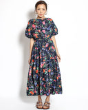 navy floral puff sleeves midi shirt dress *pre-order*