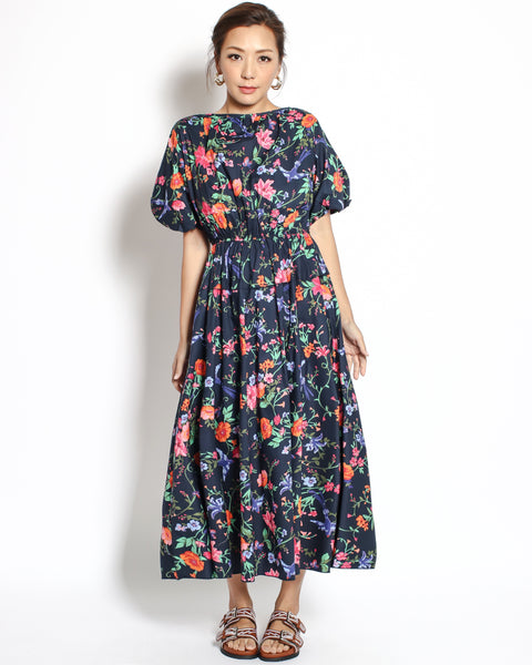 navy floral puff sleeves midi shirt dress
