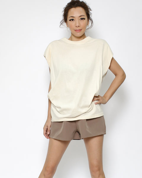 ivory ruched side tee *pre-order*