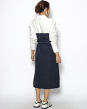 ivory shirt & navy contrast dress with belt