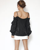 black strappy cutout shoulders slinky shirt