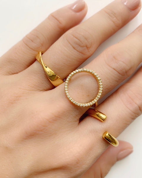 gold open front ring