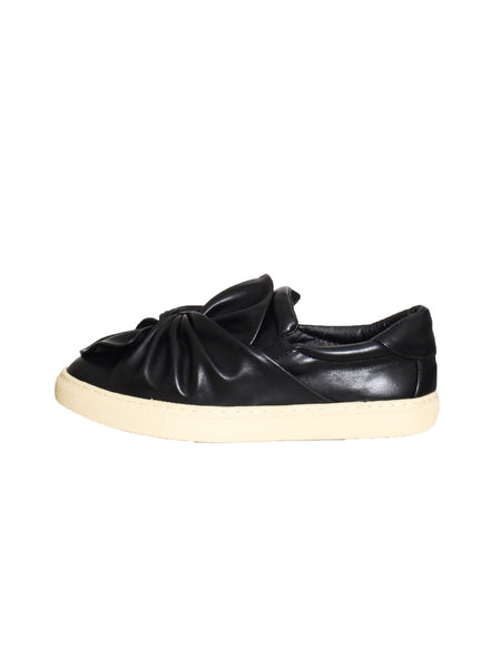 black PU leather twisted sneakers *pre-order*