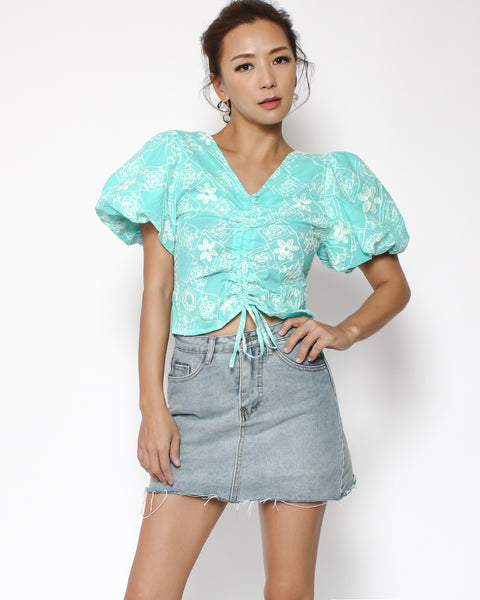 turquoise crochet ruched cropped top